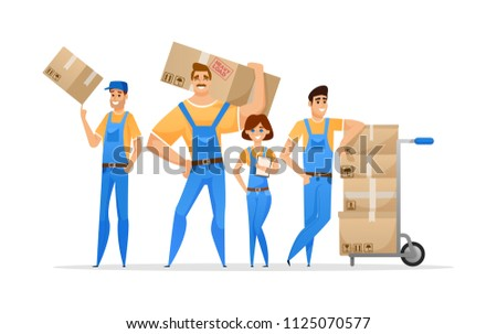 Cartoon loaders movers team with cardboard boxes. Moving and delivery company concept. Vector illustration isolated on white background