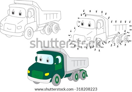 Cartoon lorry. Coloring and dot to dot educational game for kids. Vector illustration