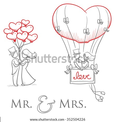 cartoon love wedding couple