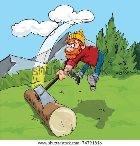 Cartoon lumberjack chopping a huge log. Forest as a background