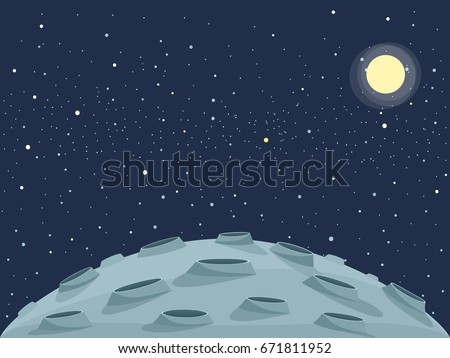 Cartoon lunar landscape. Clipart image stock photo
