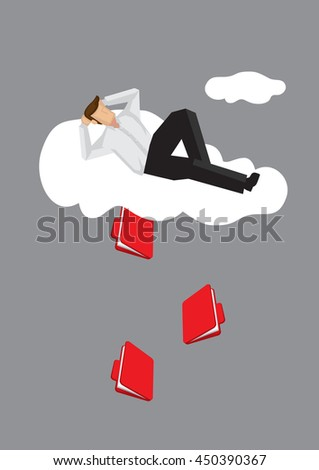 Cartoon lying on cloud in a relax manner unaware of document files coming out from cloud. Creative vector illustration on metaphor for information leakage over cloud technology. - Shutterstock ID 450390367