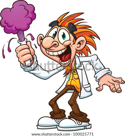stock vector : Cartoon mad scientist. Vector illustration with simple gradients. All in a single layer.
