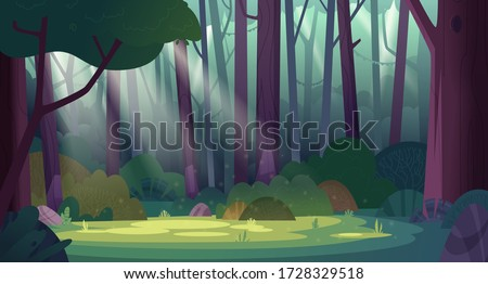 Cartoon magic summer jungle forest glade with sunbeams. Forest wilderness landscape.