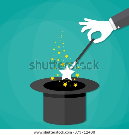 Cartoon Magicians hands in white gloves holding a magic wand with stars sparks above black magic hat. vector illustration in flat design on green background.