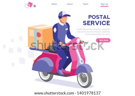 Cartoon Mailing Page. Packaging for Mail. People, Character Service Uniform. Web Postal Website Concept for web Banner Infographics Images. Flat Isometric Illustration Isolated on White Background