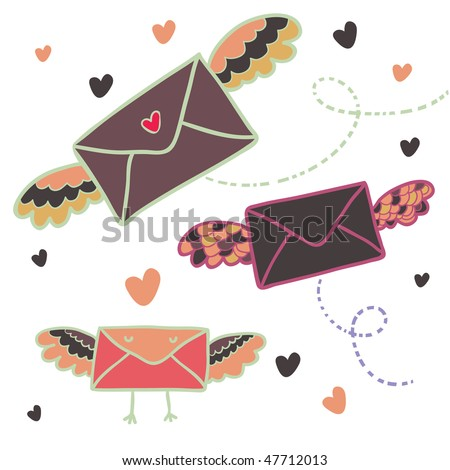 Cartoon mailing symbols
