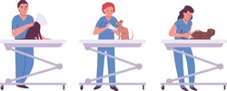 Cartoon male and female veterinary in uniform examination of different cats in veterinary clinic isolated on white vector, illustration. Pets health care background. Domestic animals treatment concept