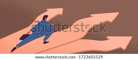 Cartoon male businessman in suit running on arrows direction vector flat illustration. Colorful business male before choosing making decision of development. Solution choice of way