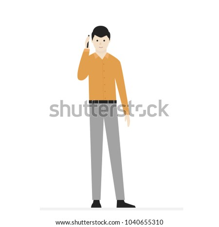 smiling man in t shirt pants and shoes for