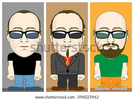 cartoon male characters set