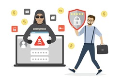 Cartoon male hacker in mask installs malware on laptop. System administrator carries an effective antivirus. Online virus attack, scam alert. Network piracy danger, data protection.Vector illustration