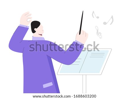 Cartoon male orchestra director vector flat illustration. Colorful man conductor classical music maestro gesturing in front of musical notes book isolated on white background