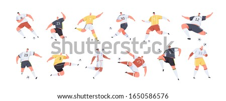 Cartoon male soccer players set vector graphic illustration. Collection of colorful sports man playing football hitting ball isolated on white. Active people kicking balls in different poses