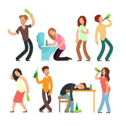 Cartoon man and woman alcoholic. People drunkard in bad situation vector set. Drunkard man, drunk and alcoholic illustration