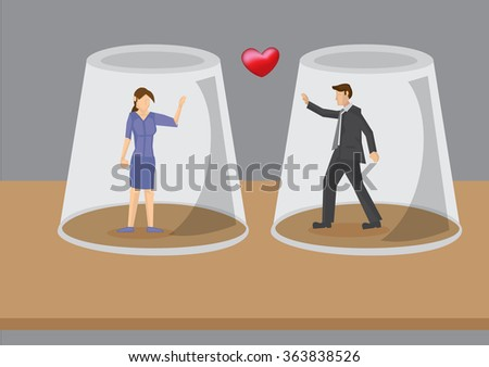 cartoon man and woman in love