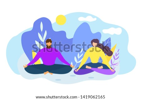 Cartoon Man and Woman Meditate Outdoors. Nature Harmony Vector Illustration. Yoga Class Practice, Inner Concentration, Mental Health, Energy Recharge, Lotus Position, Peaceful Person. Relax Keep Calm