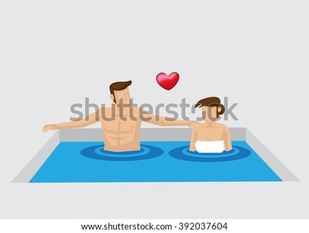cartoon man and woman soaking