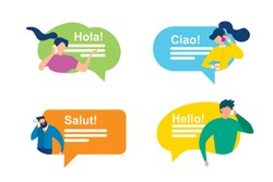 Cartoon Man and Woman with Bubble Speech. International Greeting Vector Illustration. Foreign People Communication. Phrase Hello Hola Salut Ciao. Mobile Phone Messenger Interface. Online Message