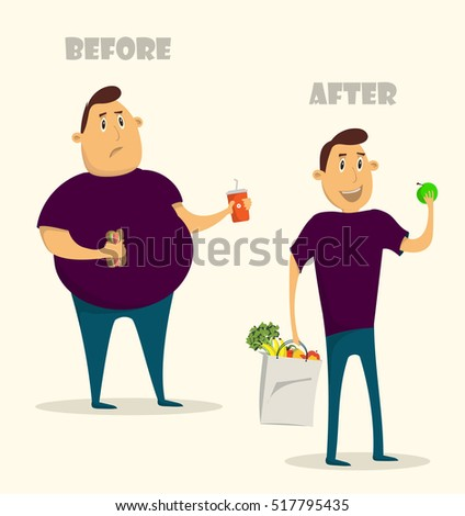 cartoon man before and after