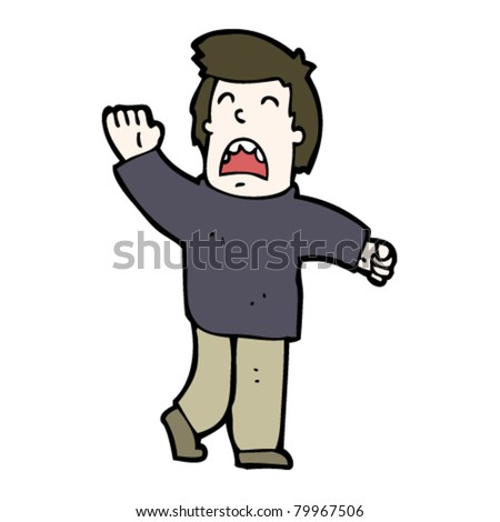 cartoon man calling - stock vector