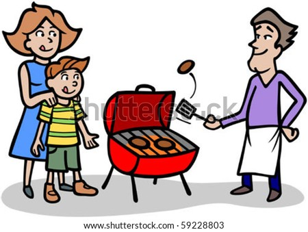 Cartoon man cooking patties on a bbq grill for his family. - stock ...