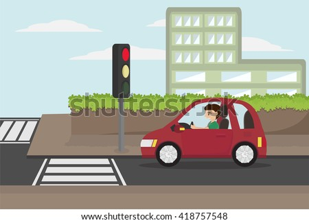 cartoon man driving eco car