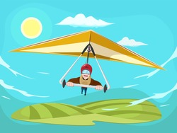 Cartoon man flying on hang glider poster. Smiling man flying on hang-glider. Sportsman taking part in hang gliding competitions.