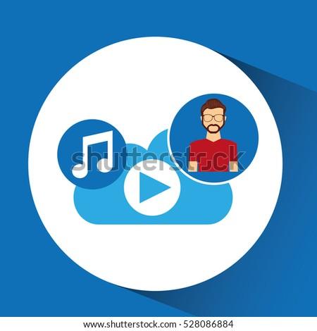 cartoon man hipster cloud music
