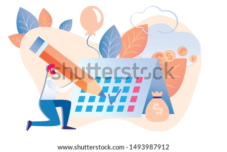 Cartoon Man Hold Pencil Check Calendar Date Vector Illustration. Money Bag with Dollar Sign. Sucessful Project Finish. Financial Reward Task Completion. Working Process Schedule Management
