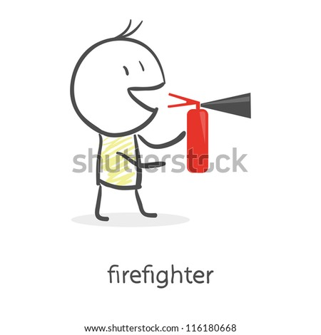 cartoon man holding a fire