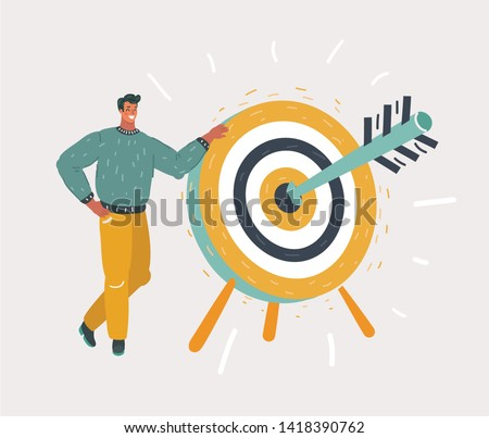 Cartoon man holding dart board with direct hit on target. Purpose in business, success, goal achievement, victory. Marketing strategy.