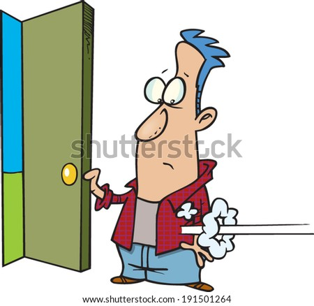 cartoon man holding open a door