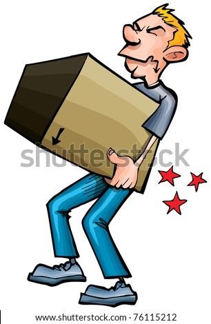 Cartoon man hurting his back picking up a heavy box