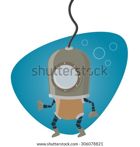cartoon man in diving suit