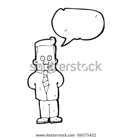 cartoon man in shirt and tie with speech bubble