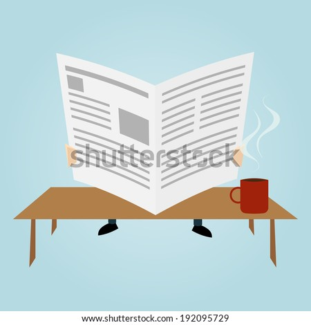 cartoon man is reading newspaper