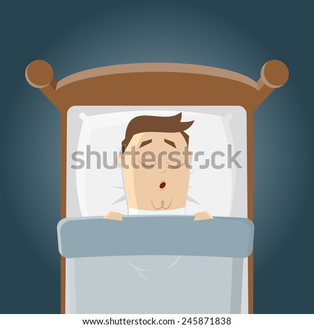 cartoon man is sleeping in his bed