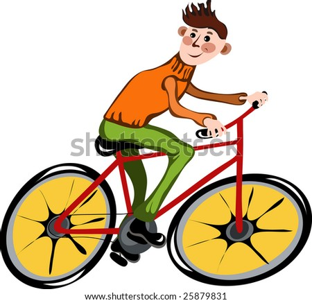 bike riding cartoon. stock vector : Cartoon man on
