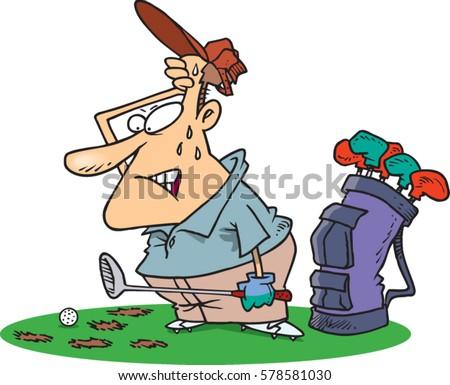 cartoon man playing bad golf