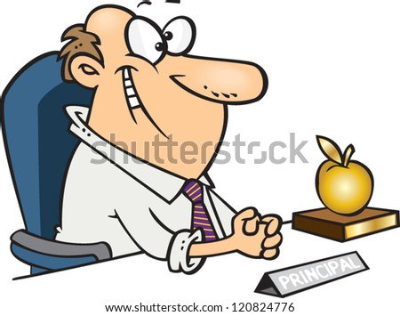 cartoon man principal sitting at his desk with a golden apple