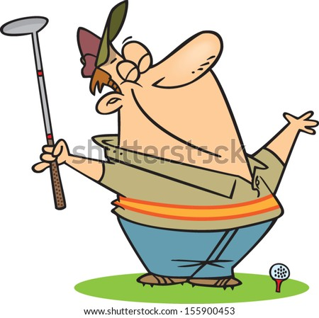 Cartoon man ready to tee off during golf