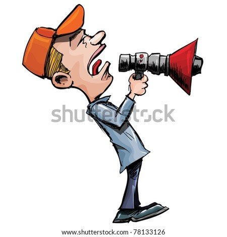 Cartoon man shouts through a megaphone. Isolated on white
