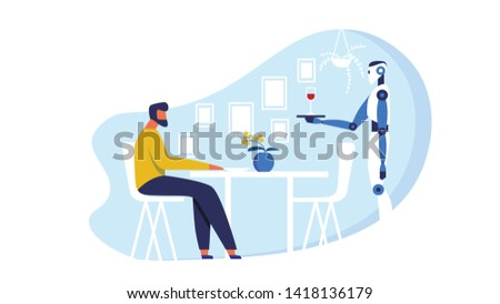 Cartoon Man Sitting Alone at Table in Innovational Restaurant Flat Vector Illustration. Mechanical Person Serving Wine to Male Person. Robot Holding Tray with Glass. Giving Aperitif.