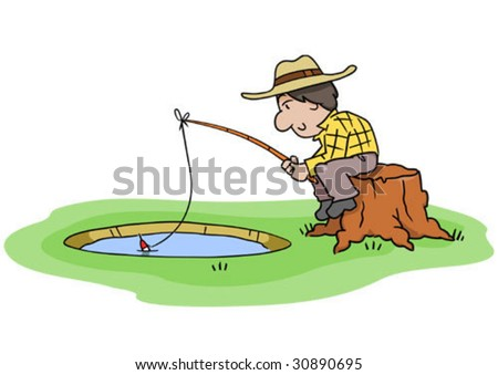 cartoon fishing pole. stock vector : Cartoon man