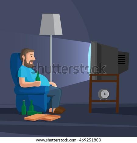 cartoon man watching tv with