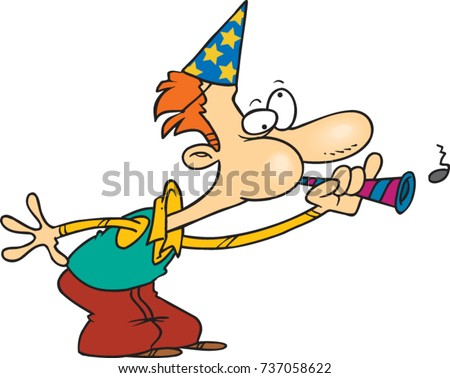 Cartoon Man Wearing A Party Hat And Blowing Into Horn
