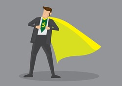 Cartoon man wearing yellow cape opening his shirt to reveal dollar sign. Creative vector illustration on metaphor for financial savvy or expert isolated on grey background.