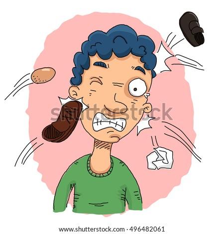 Cartoon Man With Shoe Being Thrown At Him Ez Canvas