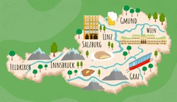 Cartoon map of Austria. Travel illustration with austrian landmarks, buildings, food and plants. Funny tourist infographics. National symbols. Famous attractions. Vector illustration